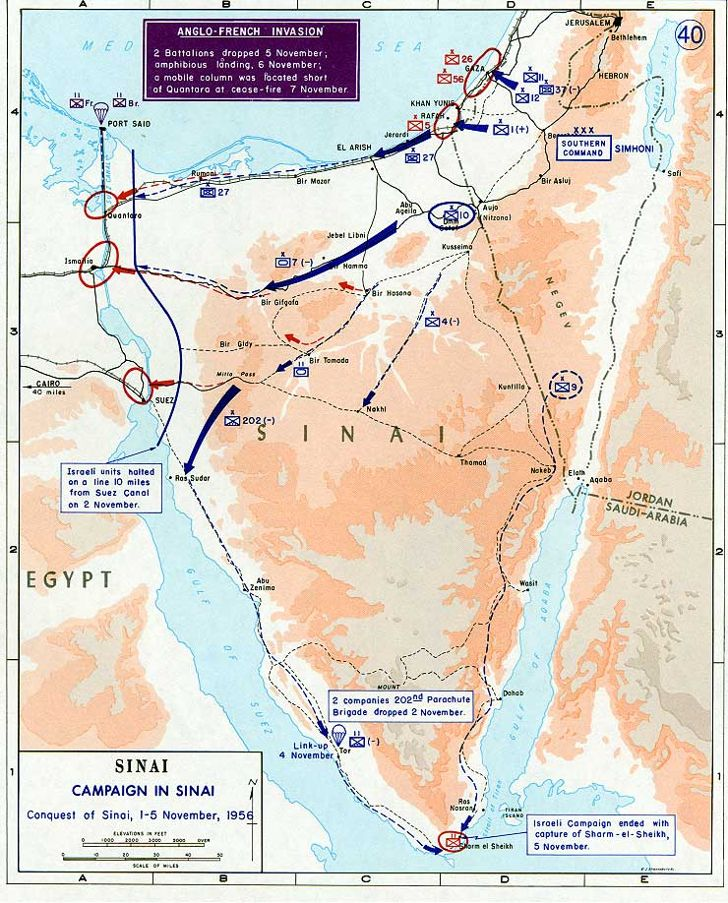 1956 Suez Crisis and Operation Musketeer Map
